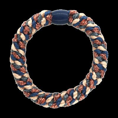 BY STÆR hårelastik - Blå, peach og rød glitter