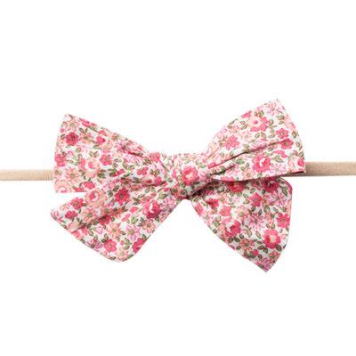 Hårbånd med sløjfe - Pink blomster
